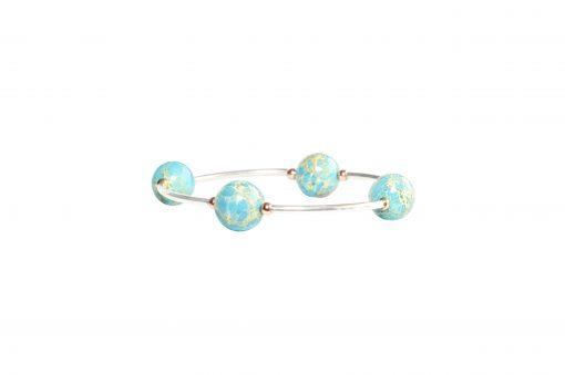 Blue Jasper pearl bracelet - Blue Jasper bracelet with sterling silver unique gift jewelry set