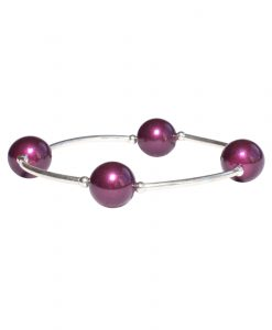 deep purple crystal pearl sterling silver birthday bracelet