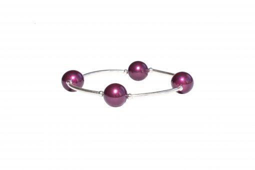 Blackberry Pearl Bracelet, Swarovski crystal, plum pearl, sterling silver stretch bracelet, birthday bracelet