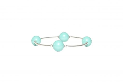 turquoise blue green pearl blessing bracelet sterling silver birthday present