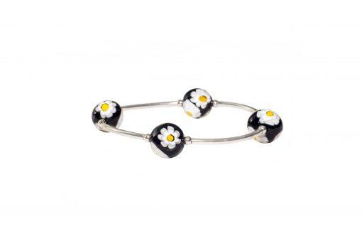 Black Daisy Murano Glass Blessing Bracelet