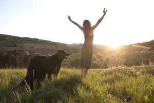 Image of woman and dog watching sunrise