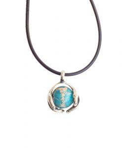 Blue Jasper Hands Holding Earth Sterling