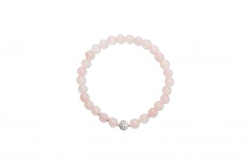 I AM LOVE - Rose Quartz Wrist Mala with Crystal Ball