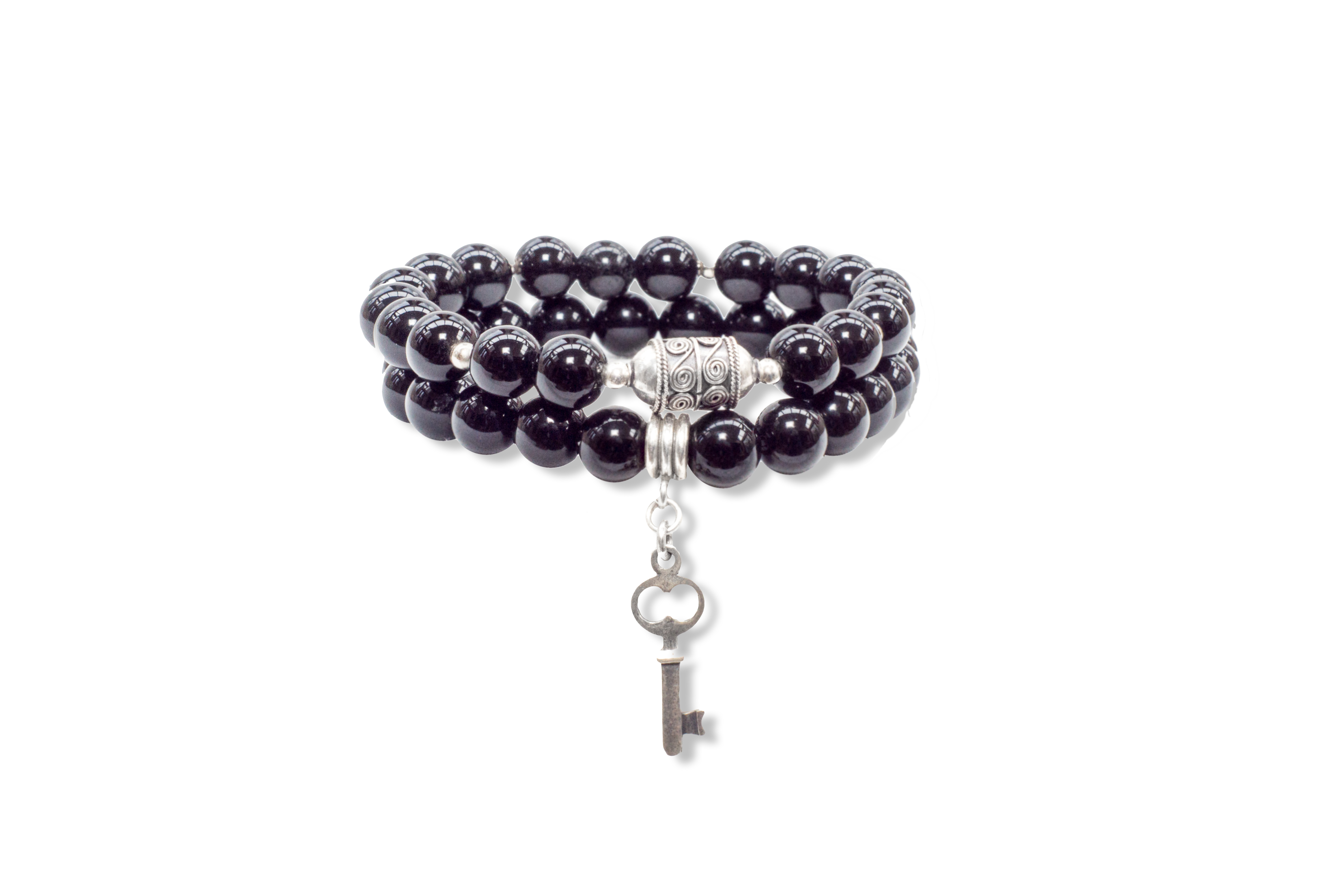 Onyx Be Present Bracelet with Sterling Silver Key - Made As
