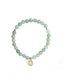 trio Aventurine and Gold COin Bracelet Abunadnce