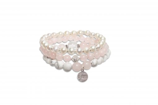 Peace, Love & Happiness Trio - Rose Quartz, Howlite and Pearl Wrist Malas