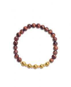 Red Tiger's Eye and Golden Pyrite Wrist Mala