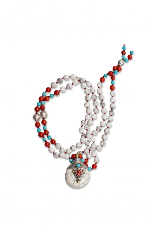 108 Count Howlite Mala with Turquoise and Red Coral