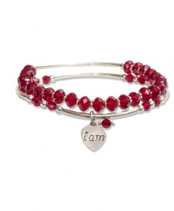 Duo of Dazzling Red Crystal Bracelets