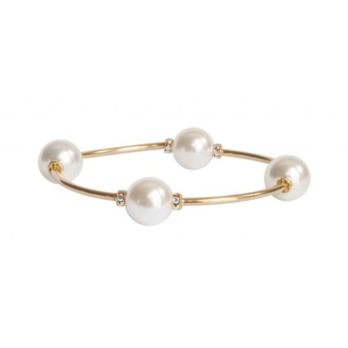 Crystal White Pearl Blessing Bracelet with Gold Links | Mother's Day Gift Idea