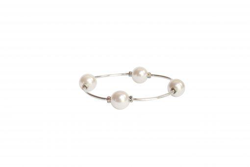 Crystal White Pearl Blessing Bracelet