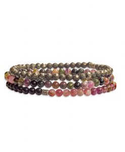 I Am Invincible - Stack of Tourmaline and Pyrite Gemstone Bracelets