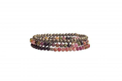 I Am Invincible - Stack of Tourmaline and Pyrite Gemstone Bracelets