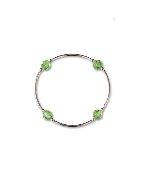 August Birthstone jewelry peridot crystal sterling silver bracelet for August birthdays