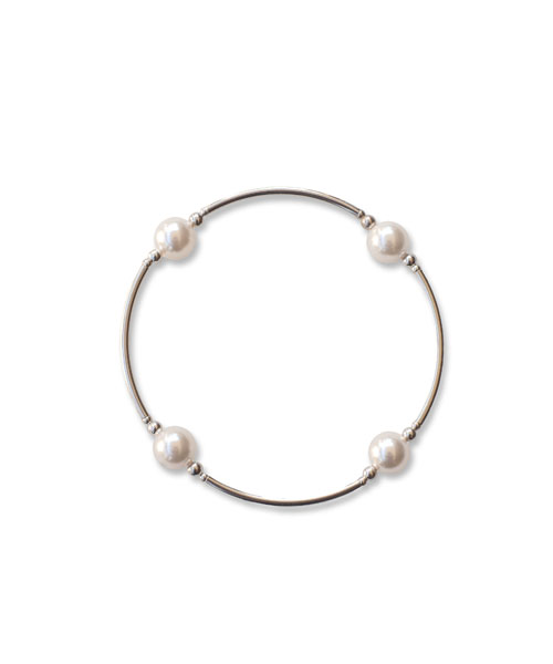 June Pearl Birthstone Bracelet small pearl white pearl crystal pearl blessing bracelet with smaller beads