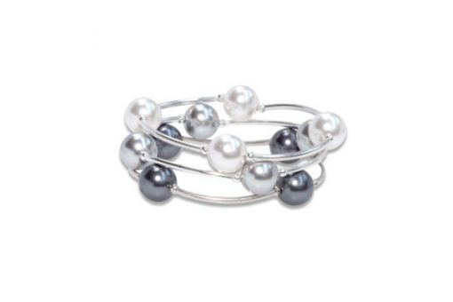 Classic Blessing Bracelets Trio in White, Silver and Graphite Pearl