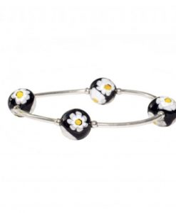 Black Daisy Murano Glass Blessing Bracelet | Mother's Day Gift Idea