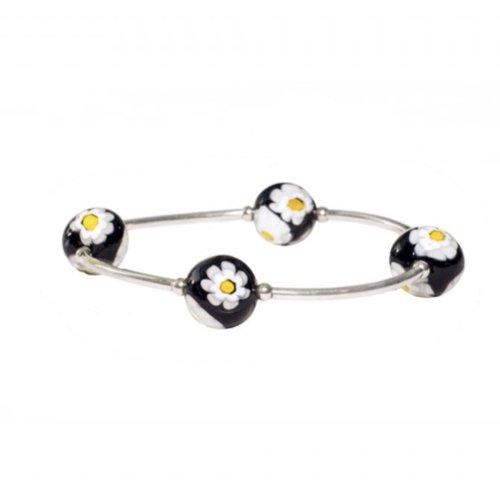 Black Daisy Murano Glass Blessing Bracelet | Mother's Day Gift Idea