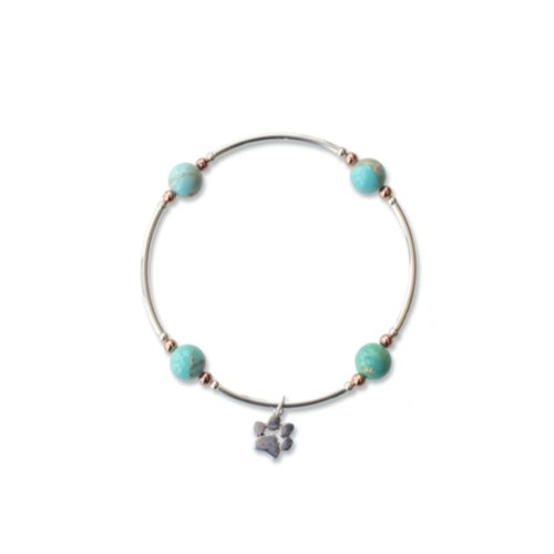 Blue Jasper Blessing Bracelet with Paw Charm | Mother's Day Gift Idea