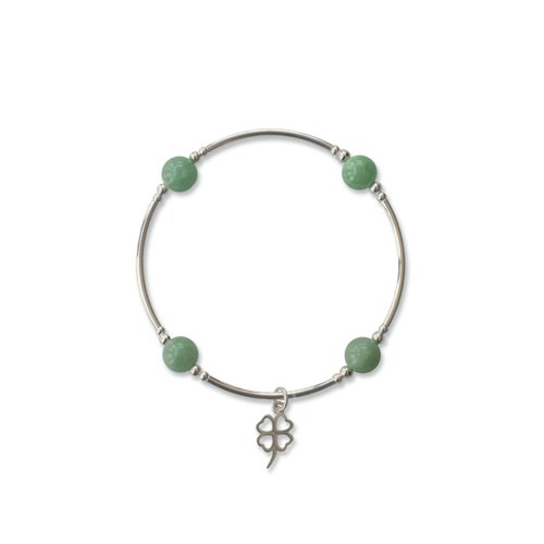 Jade Blessing Bracelet with Shamrock Charm | Mother's Day Gift Idea