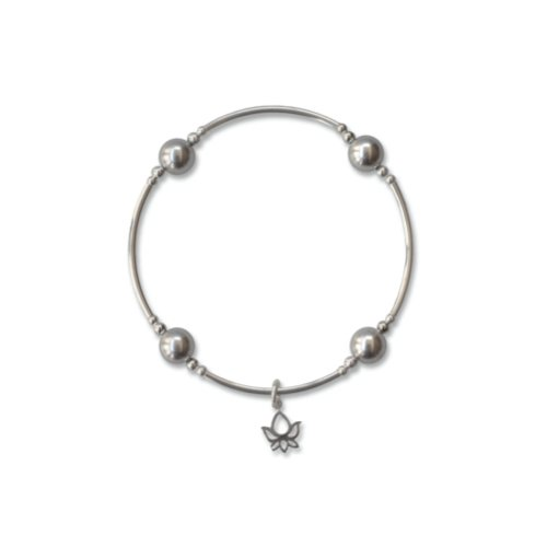Silver Pearl Blessing Bracelet with Lotus Charm   Mother's Day Gift Idea